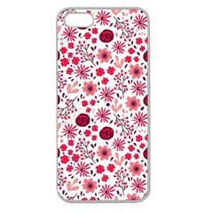 Red Floral Seamless Pattern Apple Seamless Iphone 5 Case (clear) by TastefulDesigns