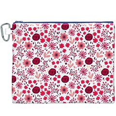 Red Floral Seamless Pattern Canvas Cosmetic Bag (xxxl) by TastefulDesigns