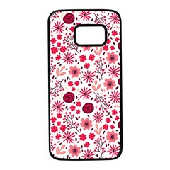 Red Floral Seamless Pattern Samsung Galaxy S7 Black Seamless Case by TastefulDesigns