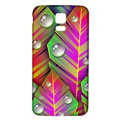 Leaves Dew Art Bright Lines Patterns  Samsung Galaxy S5 Back Case (white) by amphoto