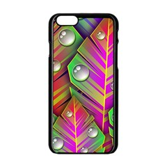 Leaves Dew Art Bright Lines Patterns  Apple Iphone 6/6s Black Enamel Case by amphoto