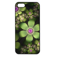 Abstraction Fractal Flowers Greens  Apple Iphone 5 Seamless Case (black) by amphoto
