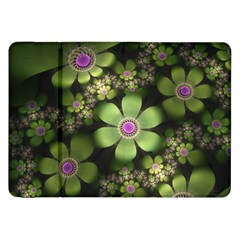 Abstraction Fractal Flowers Greens  Samsung Galaxy Tab 8 9  P7300 Flip Case by amphoto