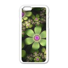 Abstraction Fractal Flowers Greens  Apple Iphone 6/6s White Enamel Case by amphoto