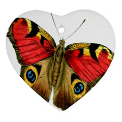 Butterfly Bright Vintage Drawing Ornament (heart) by Nexatart