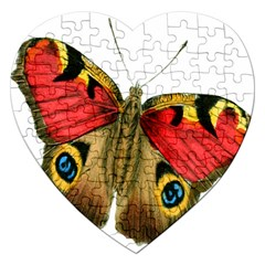 Butterfly Bright Vintage Drawing Jigsaw Puzzle (heart) by Nexatart