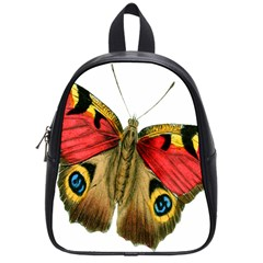 Butterfly Bright Vintage Drawing School Bag (small) by Nexatart