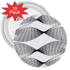 Curves Pattern Black On White 3  Buttons (10 Pack)  by CrypticFragmentsColors