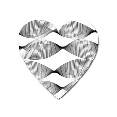Curves Pattern Black On White Heart Magnet by CrypticFragmentsColors