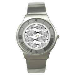 Curves Pattern Black On White Stainless Steel Watch by CrypticFragmentsColors