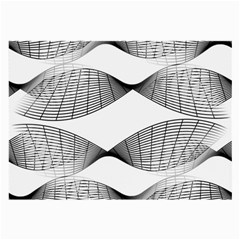 Curves Pattern Black On White Large Glasses Cloth (2 Side) by CrypticFragmentsColors