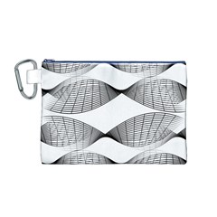 Curves Pattern Black On White Canvas Cosmetic Bag (m) by CrypticFragmentsColors