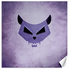 Purple Evil Cat Skull Canvas 12  X 12   by CreaturesStore