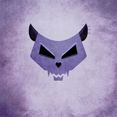 Purple Evil Cat Skull Canvas 16  X 16   by CreaturesStore