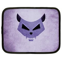 Purple Evil Cat Skull Netbook Case (large) by CreaturesStore