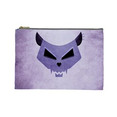 Purple Evil Cat Skull Cosmetic Bag (large)  by CreaturesStore