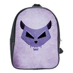 Purple Evil Cat Skull School Bag (large) by CreaturesStore