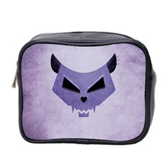 Purple Evil Cat Skull Mini Toiletries Bag 2 Side by CreaturesStore