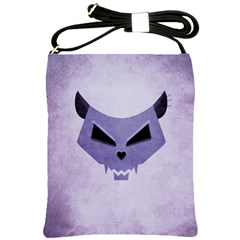 Purple Evil Cat Skull Shoulder Sling Bags by CreaturesStore