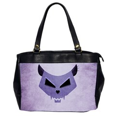 Purple Evil Cat Skull Office Handbags (2 Sides)  by CreaturesStore