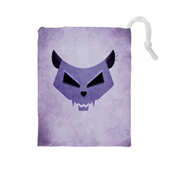 Purple Evil Cat Skull Drawstring Pouches (large)  by CreaturesStore