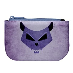 Purple Evil Cat Skull Large Coin Purse by CreaturesStore
