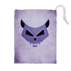 Purple Evil Cat Skull Drawstring Pouches (extra Large) by CreaturesStore