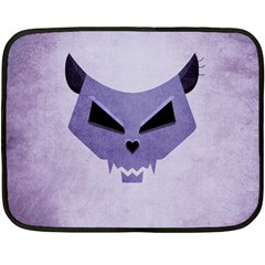 Purple Evil Cat Skull Double Sided Fleece Blanket (mini)  by CreaturesStore
