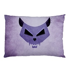 Purple Evil Cat Skull Pillow Case (two Sides) by CreaturesStore