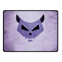 Purple Evil Cat Skull Double Sided Fleece Blanket (small)  by CreaturesStore