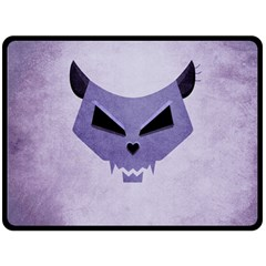 Purple Evil Cat Skull Double Sided Fleece Blanket (large)  by CreaturesStore