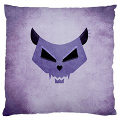 Purple Evil Cat Skull Large Flano Cushion Case (two Sides) by CreaturesStore