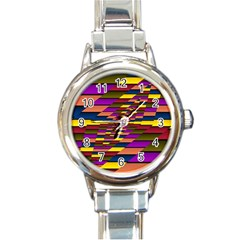 Autumn Check Round Italian Charm Watch by designworld65