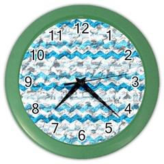 Baby Blue Chevron Grunge Color Wall Clocks by designworld65