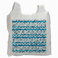 Baby Blue Chevron Grunge Recycle Bag (one Side) by designworld65