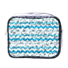 Baby Blue Chevron Grunge Mini Toiletries Bags by designworld65