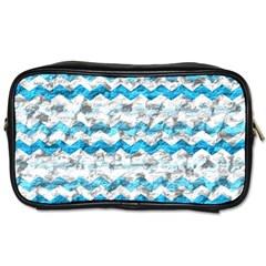 Baby Blue Chevron Grunge Toiletries Bags 2 Side by designworld65