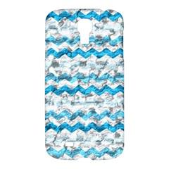 Baby Blue Chevron Grunge Samsung Galaxy S4 I9500/i9505 Hardshell Case by designworld65