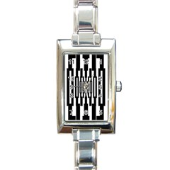 Black Stripes Endless Window Rectangle Italian Charm Watch by designworld65