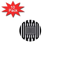 Black Stripes Endless Window 1  Mini Buttons (10 Pack)  by designworld65