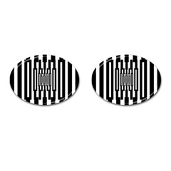 Black Stripes Endless Window Cufflinks (oval) by designworld65