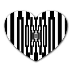 Black Stripes Endless Window Heart Mousepads by designworld65
