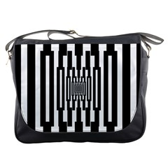 Black Stripes Endless Window Messenger Bags by designworld65