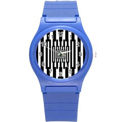 Black Stripes Endless Window Round Plastic Sport Watch (s) by designworld65