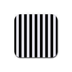 Black And White Stripes Rubber Square Coaster (4 Pack)  by designworld65