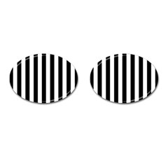 Black And White Stripes Cufflinks (oval) by designworld65