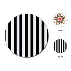 Black And White Stripes Playing Cards (round)  by designworld65