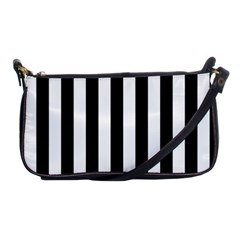 Black And White Stripes Shoulder Clutch Bags by designworld65