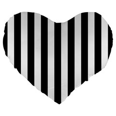 Black And White Stripes Large 19  Premium Flano Heart Shape Cushions by designworld65