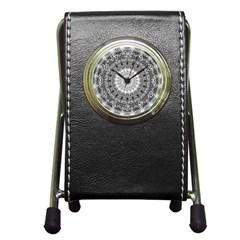 Feeling Softly Black White Mandala Pen Holder Desk Clocks by designworld65